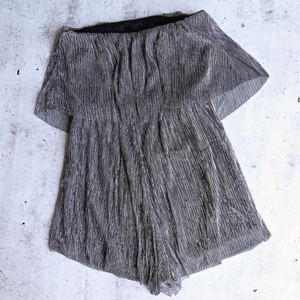 Reverse - Don't Be a Fool Metallic Romper in Silver Black