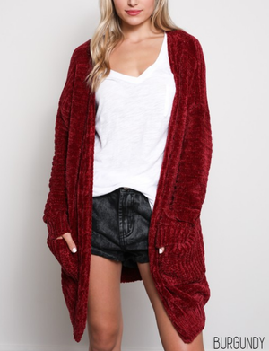 textured knit shawl cardigan - burgundy
