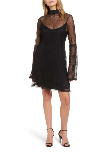 somedays lovin - starry eyed mesh mini dress - black