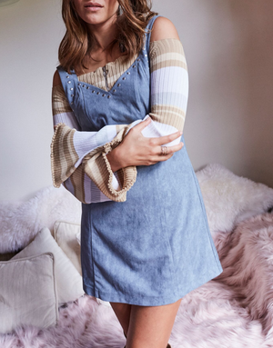 somedays lovin - slate sky faux suede pinafore dress