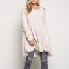 oversize thermal sweater with cold shoulder - more colors