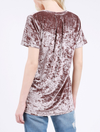jessica crushed velvet basic short sleeve deep v-neck tee - more colors