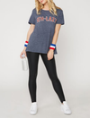 suburban riot - ath-lazy loose triblend graphic tee - navy