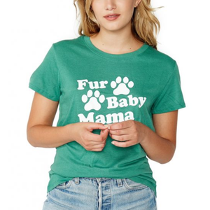suburban riot - fur baby mama loose graphic tee - evergreen