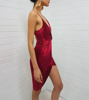 Madeline Satin Mini Dress in Burgundy