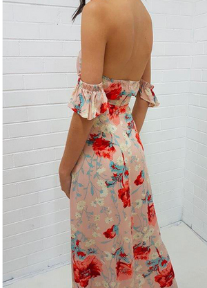 Final Sale - Annabelle - Floral Maxi Dress - Beige