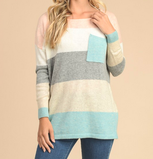 eden - long sleeve color block sweater tunic - blue multi