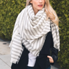 Mckayla Stripe Knit Blanket Scarf in More Colors