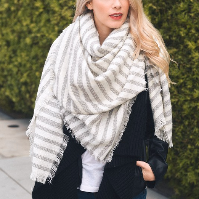 mckayla - stripe knit blanket scarf - more colors