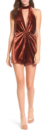 4SI3NNA - knotted velvet romper - dusty copper