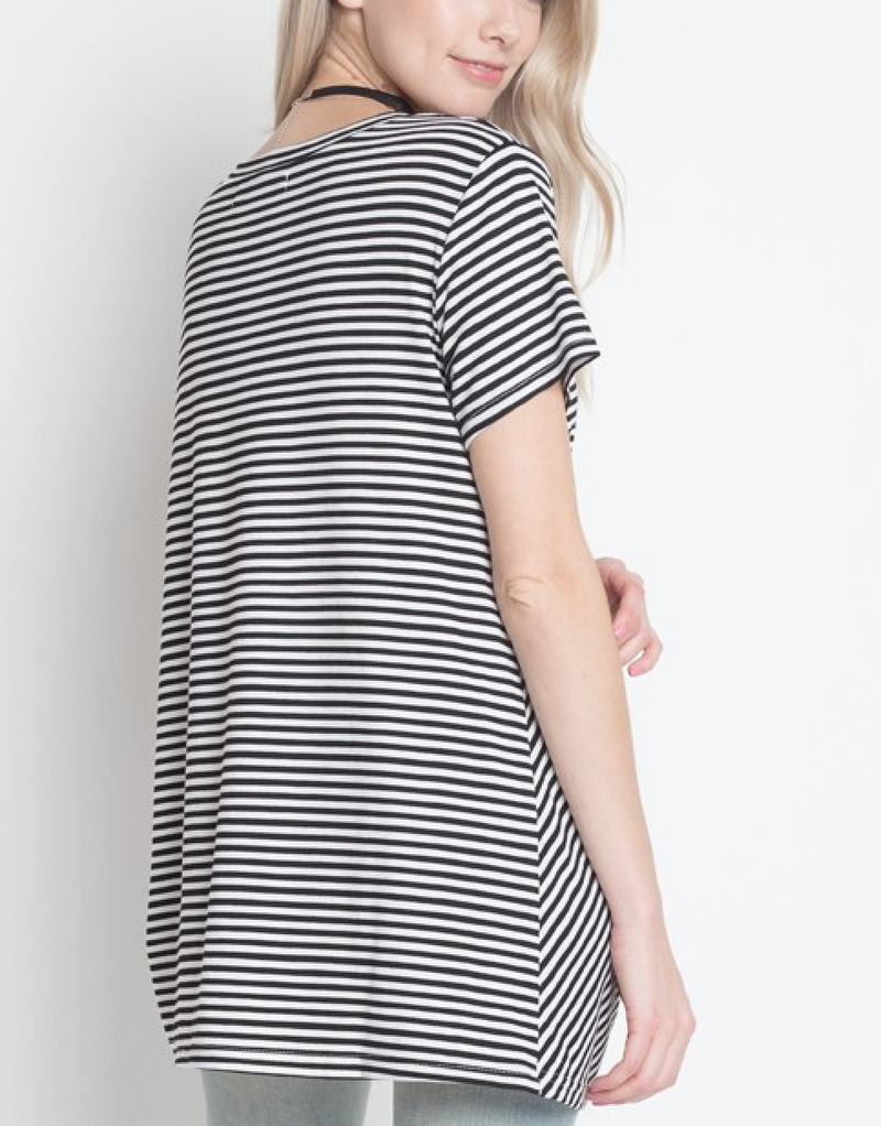 Dreamers - Knot Your Babe Stripe T-Shirt in Black