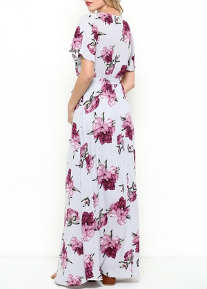 The Lone Traveler Floral Maxi Wrap Dress in Light Purple