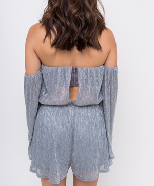 4SI3NNA - shimmer and shine off the shoulder metallic romper - silver