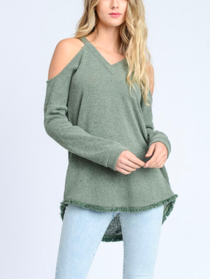 Final Sale - Cold Shoulder Knit Sweater with Frayed Hem - Green Tea