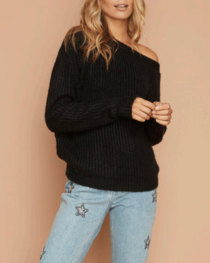 Final Sale - MINKPINK - One Sided Jumper Sweater - Black