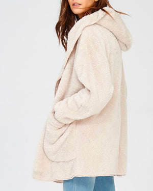 open front faux fur sherpa cardigan with hoodie - taupe