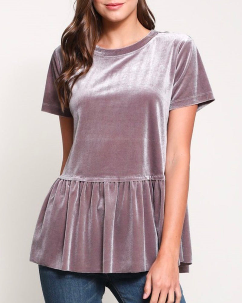 On the Road Peplum Velvet Tee in Violet