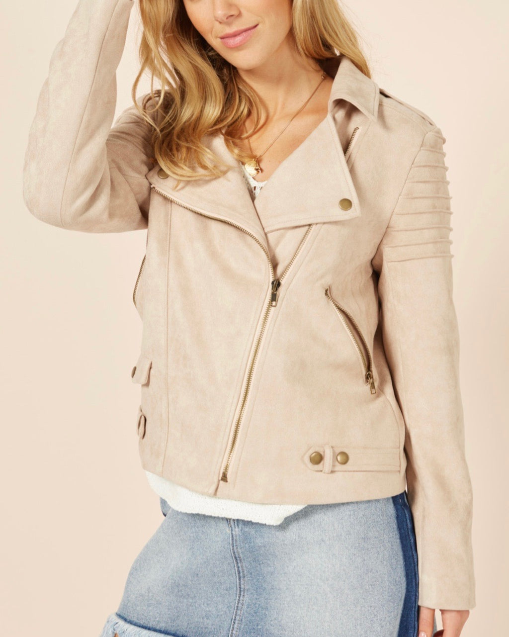 Final Sale - MINKPINK - Tessa Suede Biker Jacket in Nude