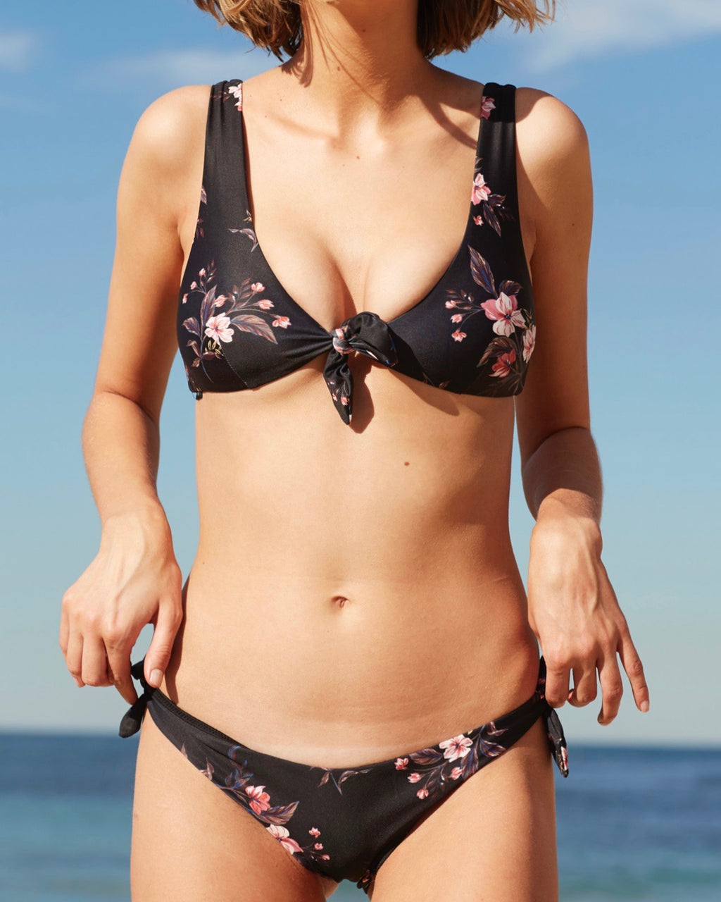 Final Sale - MINKPINK - Jasmine Tie Side Bikini Separates in Black/Multi