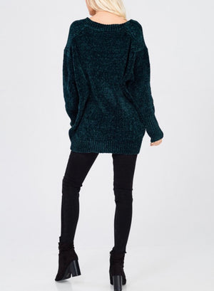 chenille oversize sweater - teal green