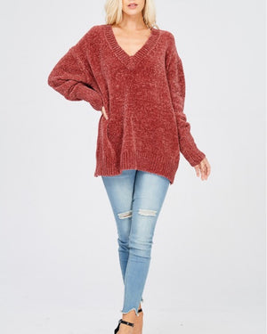 Chenille Oversized Sweater in Dark Ginger