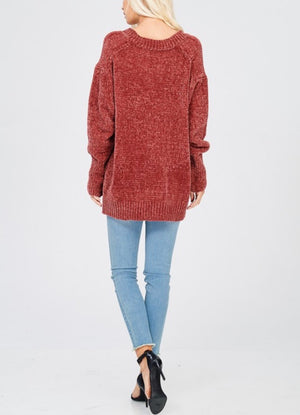 chenille oversize sweater - dark ginger