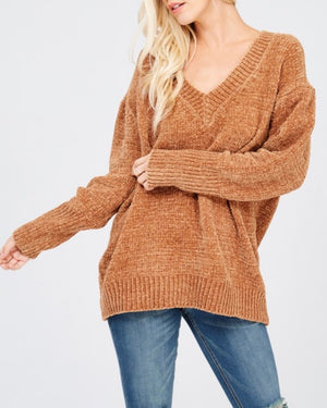 Chenille Oversized Sweater in Tan