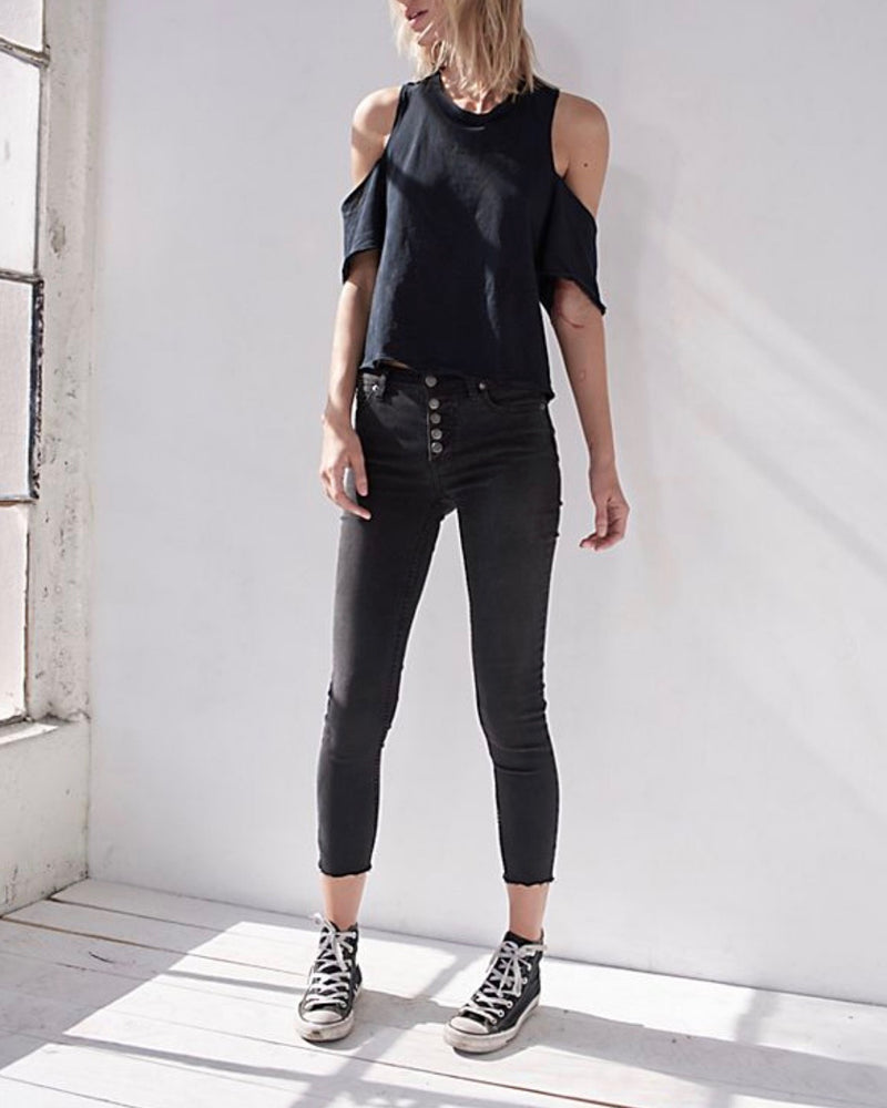 free people - reagan button front jeans - black