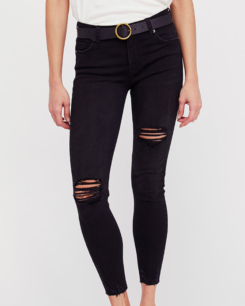 free people - shark bite raw-hem ripped crop skinny jeans - black