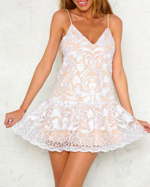 Sweet as Pie - Embroidered Mini Dress - More Colors