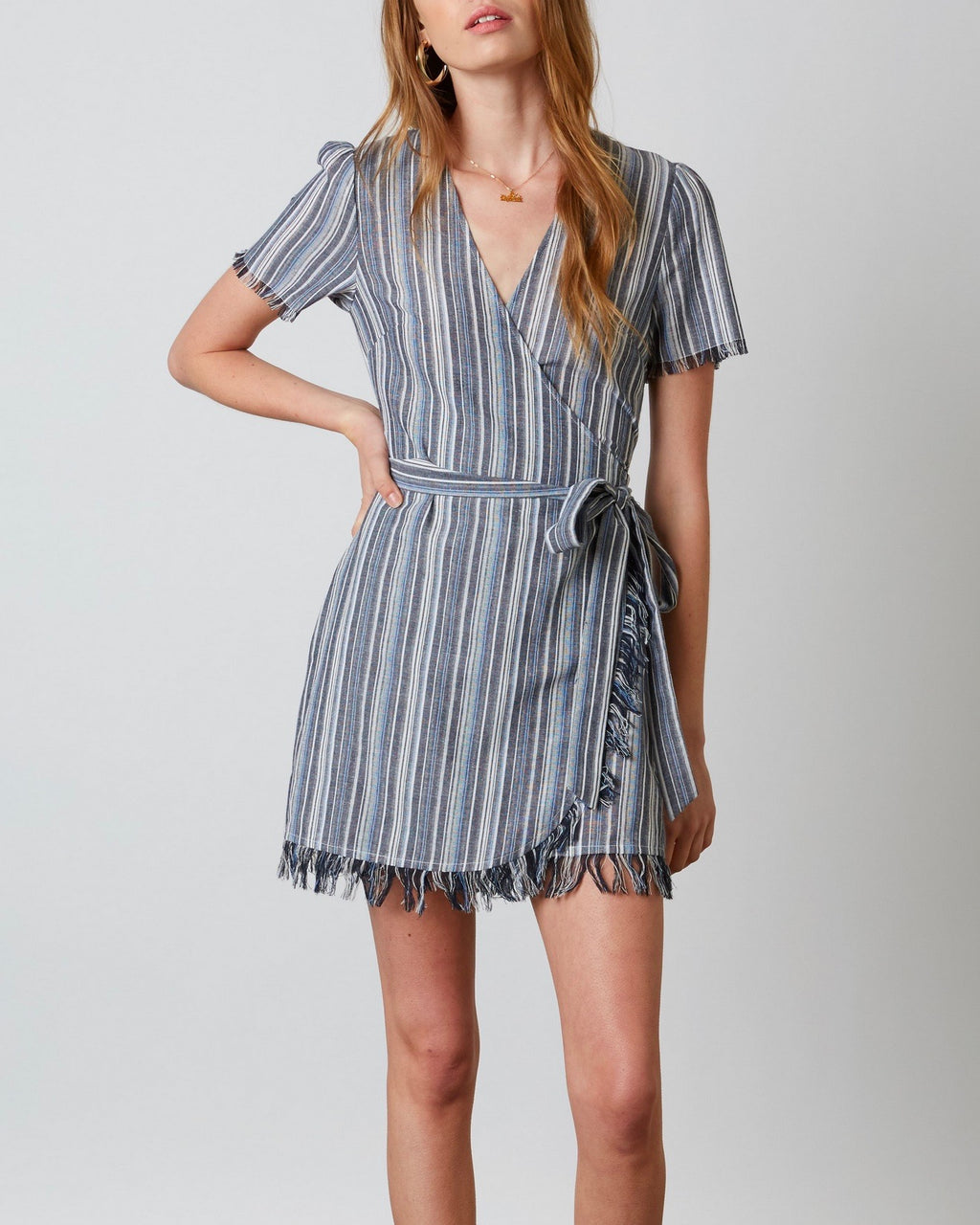 Cotton Candy LA - Hartwood Striped Wrap Mini Dress in Navy