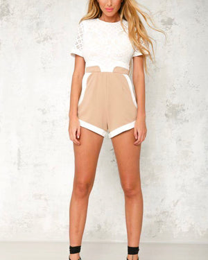 on the run structured romper - white/beige
