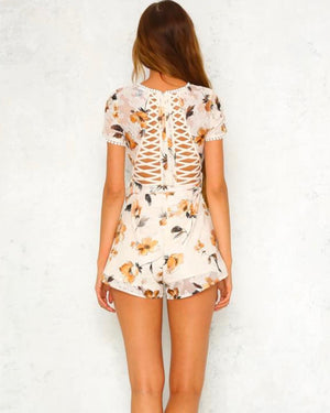 belmont shore floral romper - white/cream