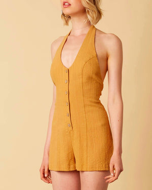cotton candy - fairgrounds linen romper - dijon mustard