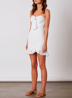 cotton candy la - faye strapless bustier style mini dress with ruffle hem - white