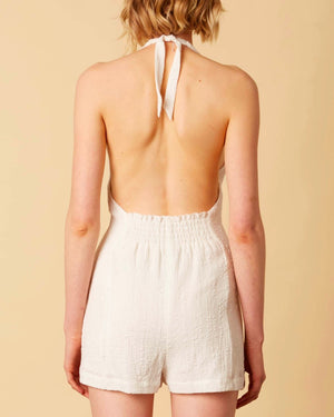 cotton candy - fairgrounds linen romper - white