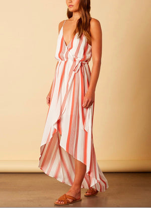 Final Sale - Cotton Candy La - Bueno Sera Striped Wrap Maxi Dress - Terracotta