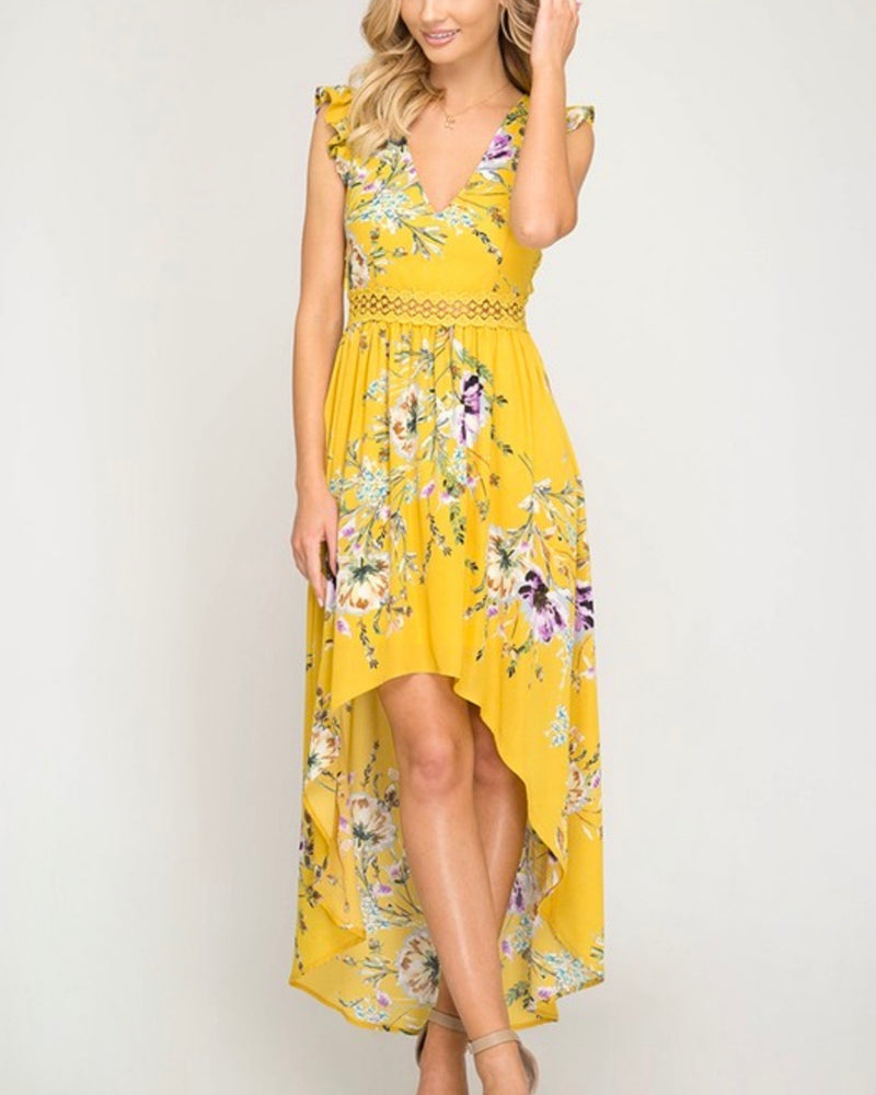 short ruffle sleeve floral print hi-low maxi dress - mustard