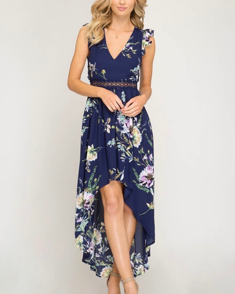 Short Ruffle Sleeve Floral Print High Low Maxi Dress in Navy