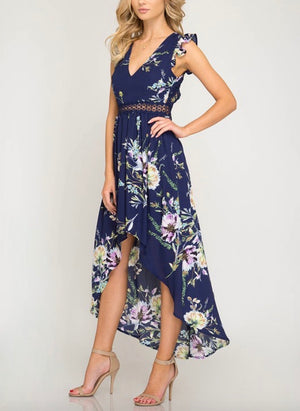 short ruffle sleeve floral print hi-low maxi dress - navy