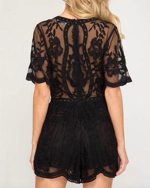 for what it's worth - lace romper - black