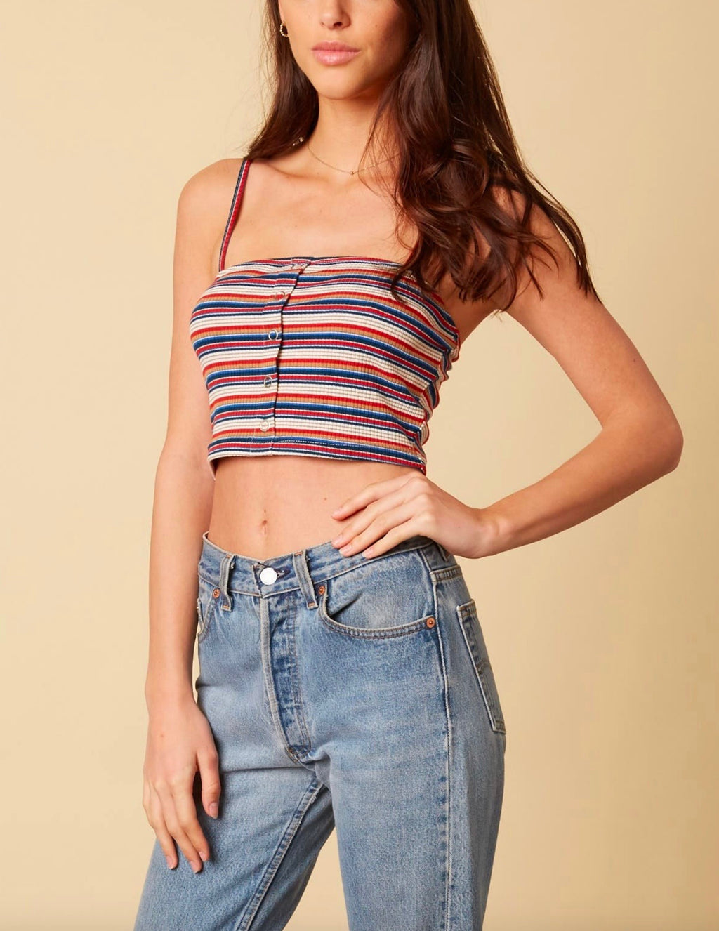 cotton candy la - baby girl ribbed stripe knit crop top - tan/multi