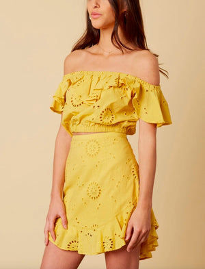 cotton candy la - it isn't in my blood - eyelet skirt - saffron