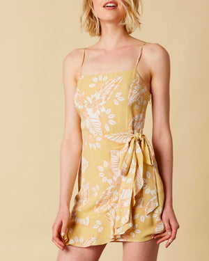 cotton candy la - rayon floral wrap dress with ruffle hem - maize