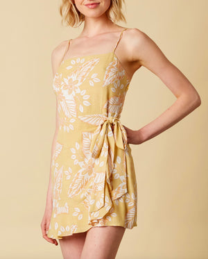 Cotton Candy LA - Rayon Floral Wrap Dress with Ruffle Hem in Maize