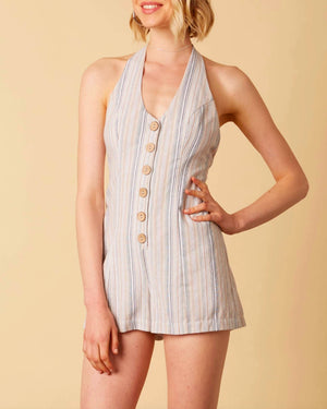 cotton candy - fairgrounds stripe linen romper - sand