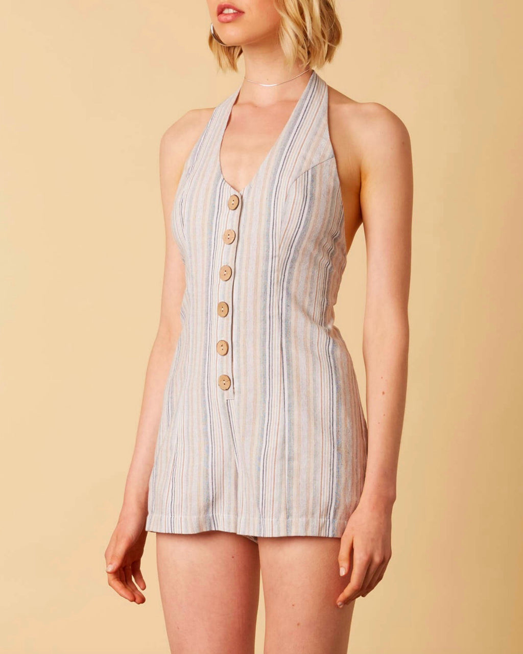 Cotton Candy - Fairgrounds Linen Romper in Sand