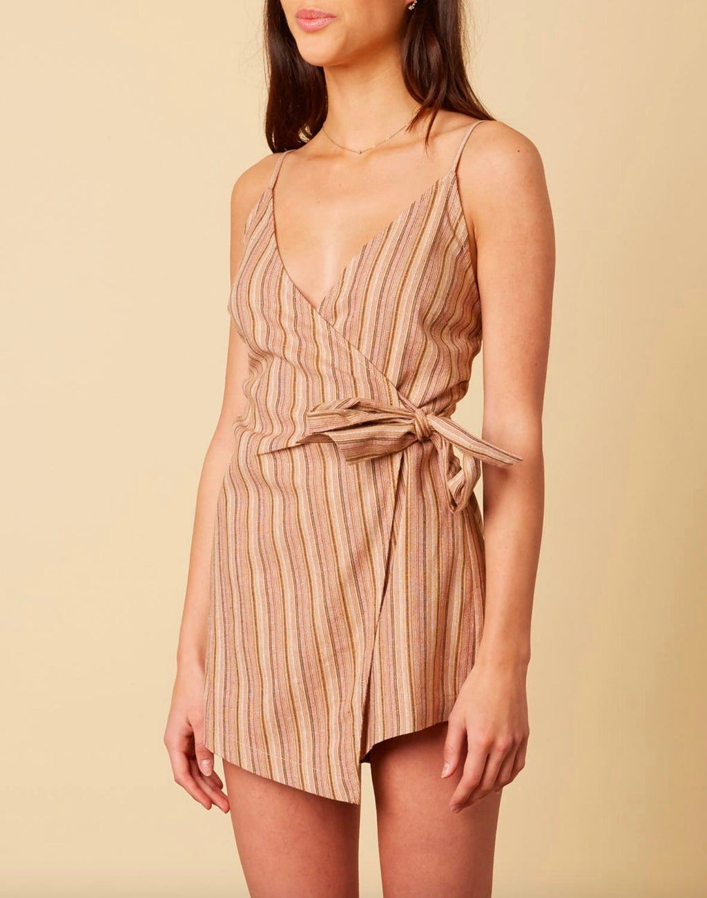 cotton candy la - selena stripe faux wrap romper - tan