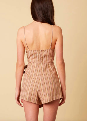 Cotton Candy LA - Selena Stripe Faux Wrap Romper in Tan