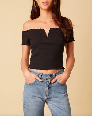 Cotton Candy LA - Not One Bit Ribbed Off The Shoulder Crop Top in Black